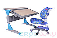 Комплект Детская парта растишка трансформер Ergoway T100B + Кресло M300 Blue + ПОДАРОК