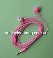 Стерео наушники вакуумные, силиконовый шнур, розовые
