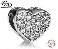 """Серебряная подвеска-шарм Пандора (Pandora) """"Белое сердце"""" для браслета"""