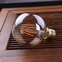 LED лампа Эдисона G-80  (6w) (AMBER)  Filament (диммируемая)