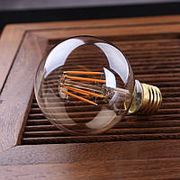 LED лампа Эдисона G-80  (6w) (AMBER)  Filament