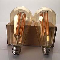 PREMIUM LED лампа Эдисона ST64 6W LONG диммируемая (AMBER)  Filament
