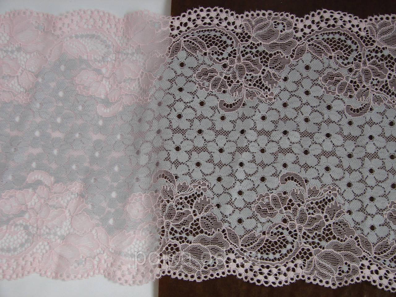 Стрейчевое кружево-309,ширина 20см,цвет розовый с серым