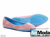Балетки женские из искусственной замши на синей резиновой подошве розовые