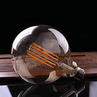 LED лампа Эдисона G-125  (6w) (AMBER)  Filament (диммируемая)