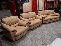 Комплект кожаной мягкой мебели, кожаный диван 3+2+1, мягкая мебель