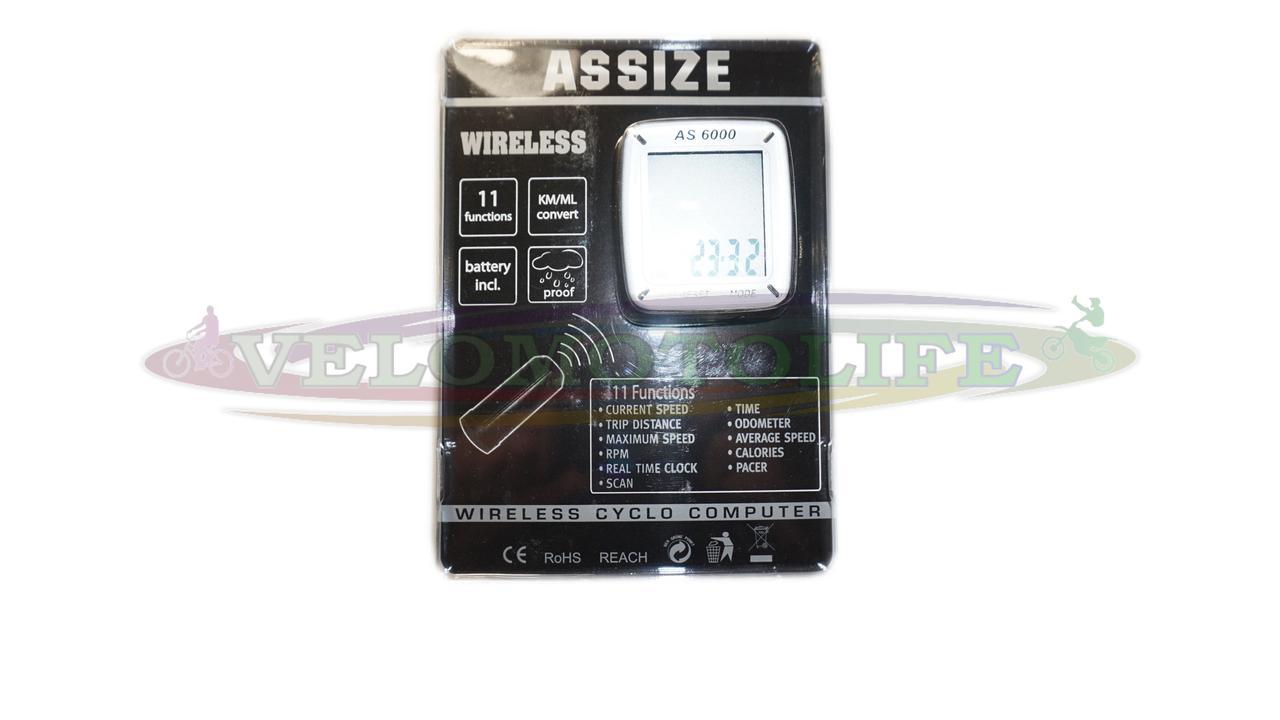 """Велокомпьютер ASSIZE AS-6000 беспроводной (11 режимов) """"Тайвань"""""""