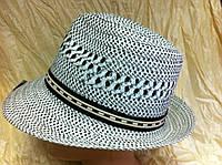 Летняя шляпа для мужчин из соломки цвет белая с  черным