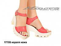 Женские кожаные коралловые молодежные босоножки на каблуке 10 см (размеры 36-41)