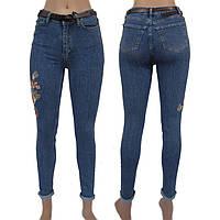 Джинсы женские узкие Американка, голубые с вышивкой