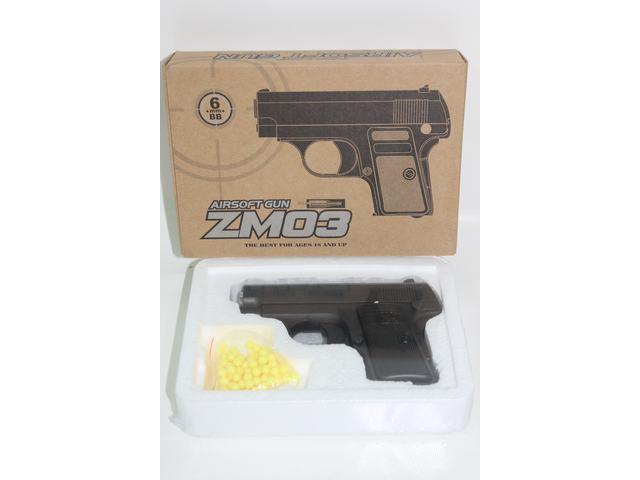 Детский пистолет ZM03, пластиковые пульки, металлический.