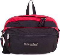 Мужская сумка на плечо или на пояс ONEPOLAR (ВАНПОЛАР) W862-red черный с красным