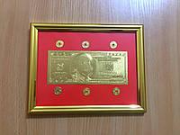 Картина денежная с банкнотой 100$ долларов и 6 монет