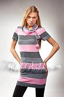 Платье Trikobakh в полоску серого - розового цвета T558/1-5