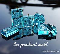 """Молд для заливки эпоксидной смолой подвеска """"Лед"""", прямоугольник, 1шт"""