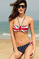 Распродажа!  Раздельный купальник с принтом под британский флаг L40613