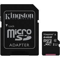 Карта памяти MicroSDXC 64GB UHS-I Class 10 Kingston + SD-adapter (SDC10G2/64GB)