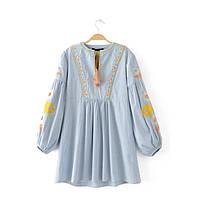 Блузка женская вышитая 404412 Блузки с вышивкой реплика Zara
