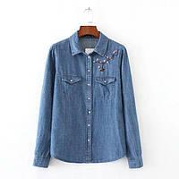 Рубашка женская вышитая джинсовая NNT 860 Рубашки с вышивкой Zara реплика