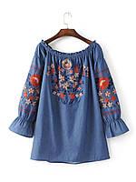Блузка женская вышитая 404413 Блузки с вышивкой реплика Zara