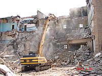 Демонтаж зданий, снос домов, оборудования, строений заводов. Снос строений, слом конструкций