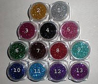 Набор Глиттер Блестки для дизайна ногтей 13 штук по 5мл