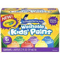 Краски с блеском крайола в баночках (59 мл) Washable Kids Paint, в наборе 6 цветов, Crayola, фото 1