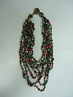 Перламутр  самоцветы зелено-красные Бусы от 45см до 65-70см
