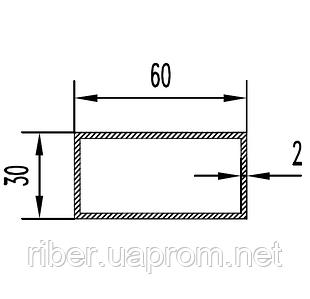 Прямоугольная труба 60х30х2 мм
