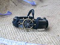 Морской кожаный браслет ШТУРВАЛ на руку, ручная работа