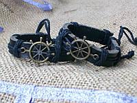 Морские кожаные браслеты ШТУРВАЛ на руку, ручная работа