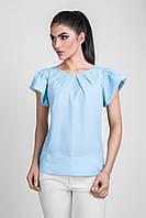 Тонкая летняя блуза прямого силуэта из нежного шифона голубая