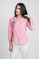 Модная блуза-рубашка из натуральной ткани с цветочной вышивкой красная