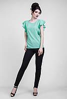 Красивая шифоновая блуза с рукавами-воланами мятного цвета