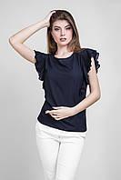 Красивая шифоновая блуза с рукавами-воланами темно-синего цвета