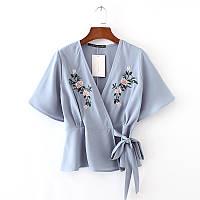 Сера блуза с коротким рукавом, фото 1