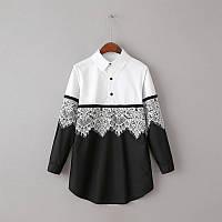 Удлиненная черно белая рубашка, фото 1