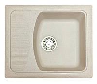 Кухонная мойка из искусственного камня кремовая 58 см Fosto SGA-800