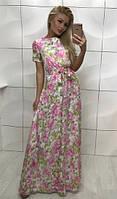 Длинное платье с цветочным принтом розовое