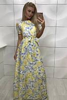 Длинное платье с цветочным принтом желтое