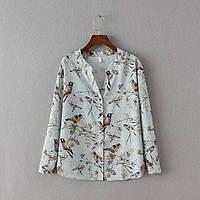 Стильная рубашка с соловьями, фото 1