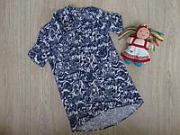 Стильное платье-рубашка для девочки сине-белое р.110-140