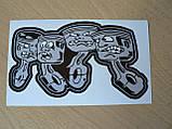 Наклейка пп Поршни 145х78мм средние №3 серые черная окантовка виниловая сплошная на авто, фото 3