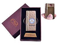"""Спиральная USB зажигалка """"Mersedes-Benz"""" №4828-2 с фонариком + фонарик с ультрафиолетом, практичная"""