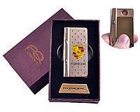 """Спиральная USB зажигалка """"Porsche"""" №4828-5 с фонариком + фонарик с ультрафиолетом, необычная, в коробке"""