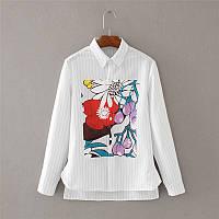 Белая рубашка, летний принт, фото 1