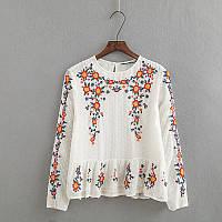 Белая блуза с вышивкой, фото 1