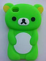 """Силиконовый чехол салатовый """"Мишка"""" iphone 4/4s"""