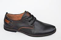 Туфли кожаные мужские классические удобные черные с шнурками. Топ