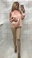 Женская блуза из шёлка, пудра